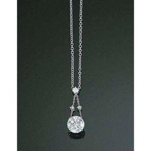 2 carats round diamond white gold necklace pendant